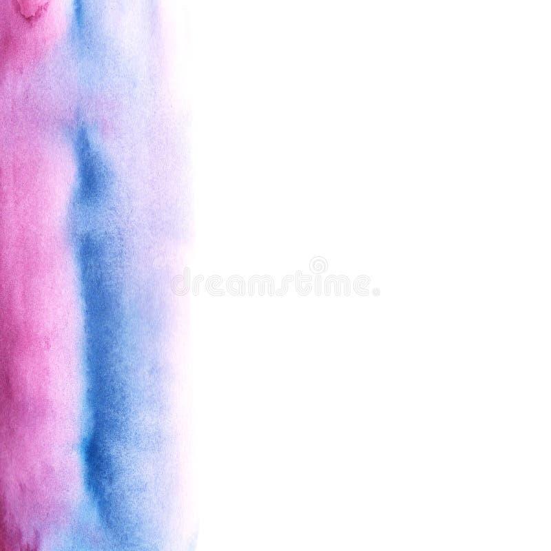 Πορφυρό ρόδινο και μπλε χρώμα υποβάθρου watercolor αφαίρεσης με την κλίση διαζυγίου ελεύθερη απεικόνιση δικαιώματος