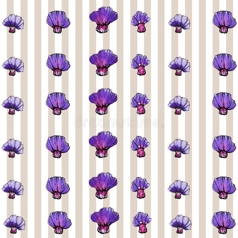 Πορφυρό σχέδιο λουλουδιών Watercolor, ριγωτό υπόβαθρο στοκ εικόνες