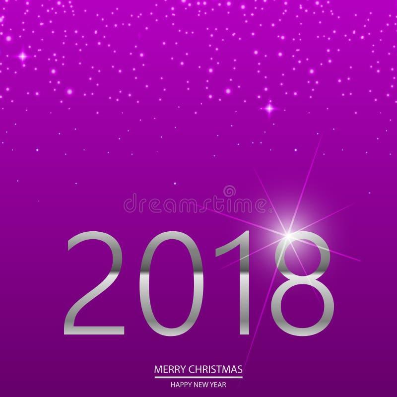 Πορφυρό υπόβαθρο καλής χρονιάς με το μειωμένο χιόνι και το ασημένιο κείμενο 2018 διάνυσμα διανυσματική απεικόνιση