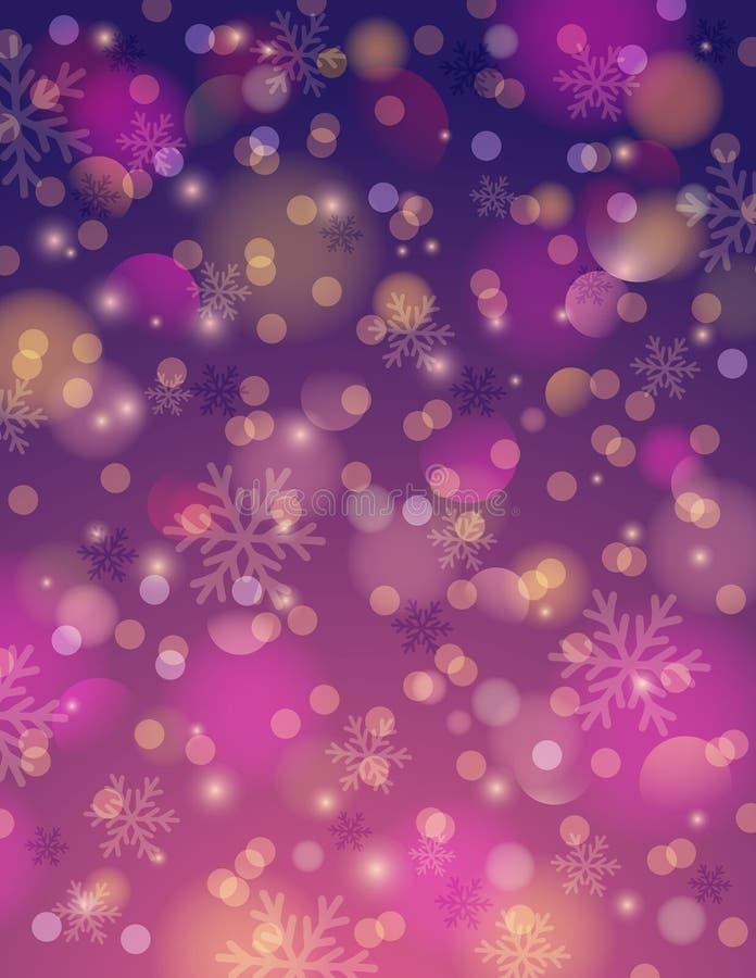 Πορφυρό υπόβαθρο με snowflake και bokeh, διάνυσμα ελεύθερη απεικόνιση δικαιώματος