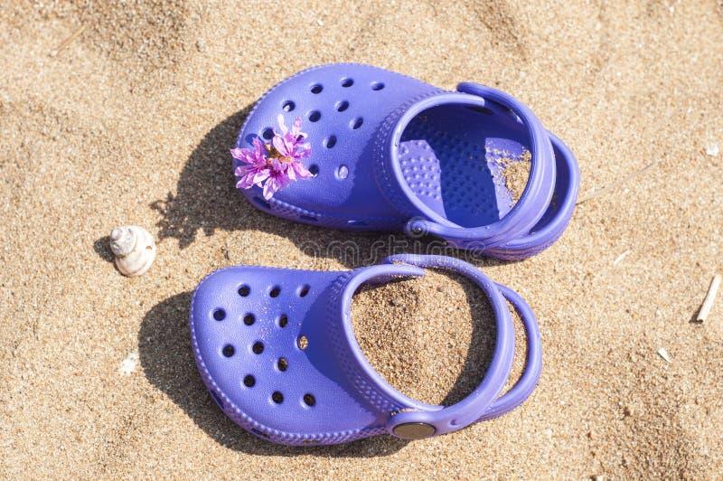 Πορφυρό clog μωρών με τα ρόδινα λουλούδια στην άμμο στην παραλία Χαριτωμένες λεπτομέρειες των καλοκαιρινών διακοπών Παπούτσια μωρ στοκ φωτογραφία με δικαίωμα ελεύθερης χρήσης