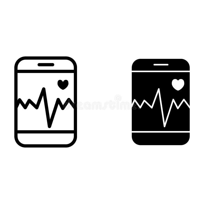 Ποσοστό καρδιών στη γραμμή και glyph το εικονίδιο smartphone Καρδιογράφημα στην τηλεφωνική διανυσματική απεικόνιση που απομονώνετ ελεύθερη απεικόνιση δικαιώματος