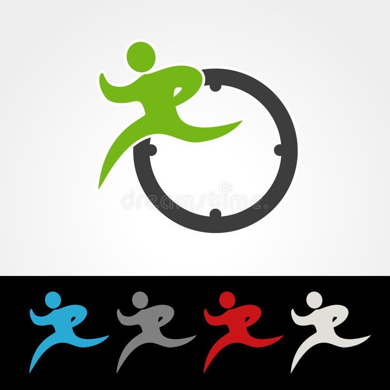 Ποσοστό συμβόλων συσκευασίας παράδοσης ή εικονίδιο ταχύτητας, σκιαγραφία του τρέχοντας ατόμου, δρομέας με το ρολόι διανυσματική απεικόνιση
