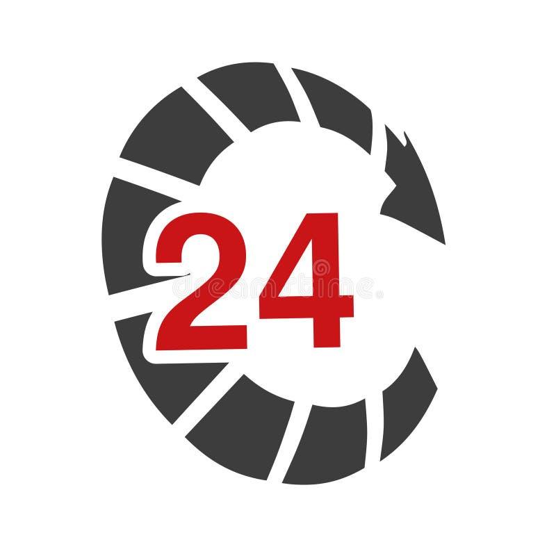 Ποσοστό συμβόλων συσκευασίας παράδοσης, κιβώτιο Εικονίδιο της μεταφοράς ταχύτητας Βέλος με το σημάδι 24 ωρών απεικόνιση αποθεμάτων