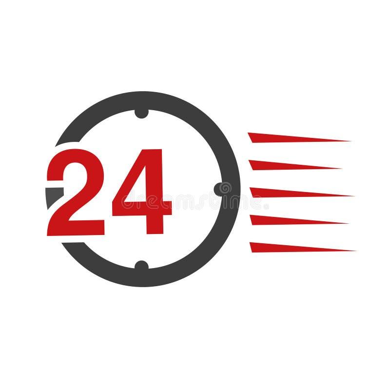 Ποσοστό συμβόλων συσκευασίας παράδοσης, κιβώτιο Εικονίδιο της μεταφοράς ταχύτητας Ρολόι με το σημάδι 24 ωρών διανυσματική απεικόνιση