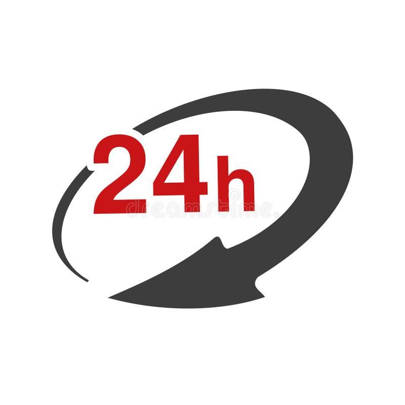 Ποσοστό συμβόλων συσκευασίας παράδοσης, κιβώτιο Εικονίδιο της μεταφοράς ταχύτητας Βέλος με το σημάδι 24 ωρών διανυσματική απεικόνιση