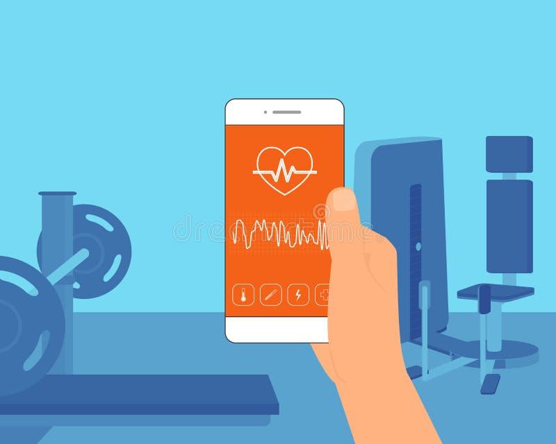 Ποσοστό σφυγμού κινητό app απεικόνιση αποθεμάτων
