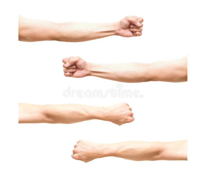 Ποσό 4 PIC του βραχίονα στη δράση πυγμών στο άσπρο υπόβαθρο στοκ φωτογραφίες με δικαίωμα ελεύθερης χρήσης