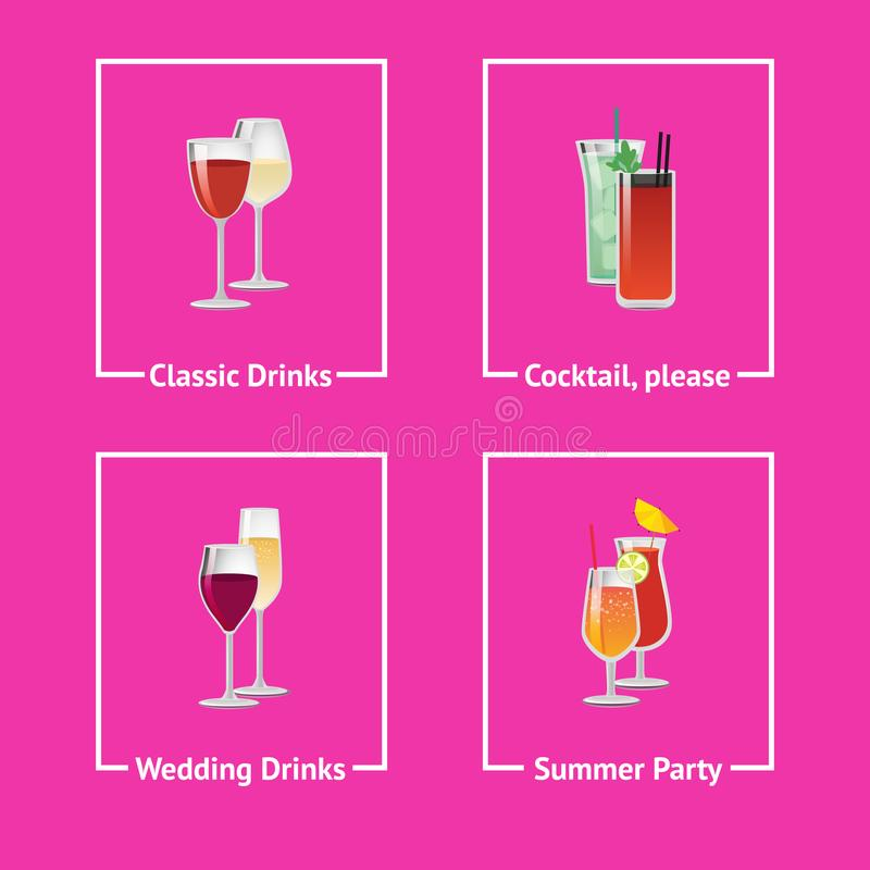 Ποτά και κοκτέιλ οινοπνεύματος για το γάμο και το κόμμα ελεύθερη απεικόνιση δικαιώματος