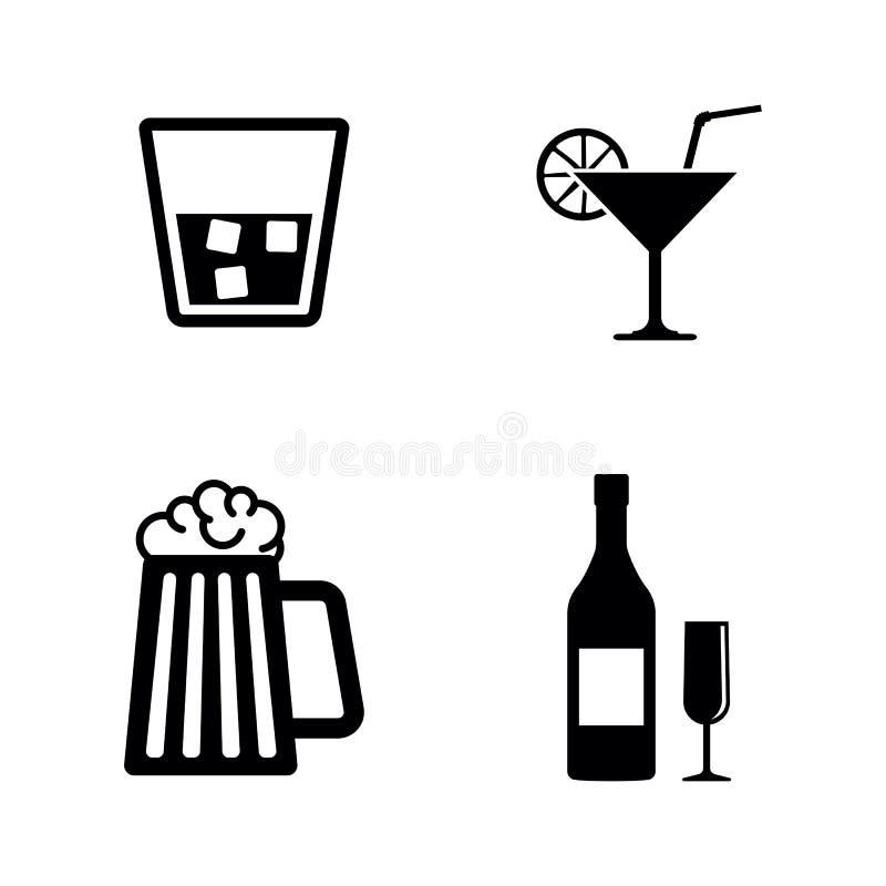 Ποτά οινοπνεύματος Απλά σχετικά διανυσματικά εικονίδια διανυσματική απεικόνιση