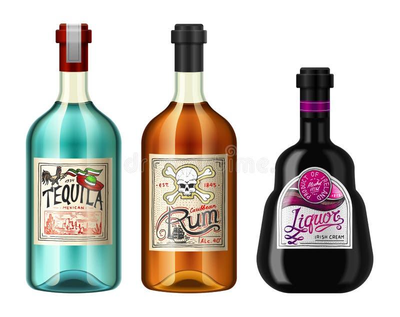 Ποτά οινοπνεύματος σε ένα μπουκάλι με τις διαφορετικές εκλεκτής ποιότητας ετικέτες Ρεαλιστικό ρούμι Tequila ηδύποτου Διανυσματική απεικόνιση αποθεμάτων