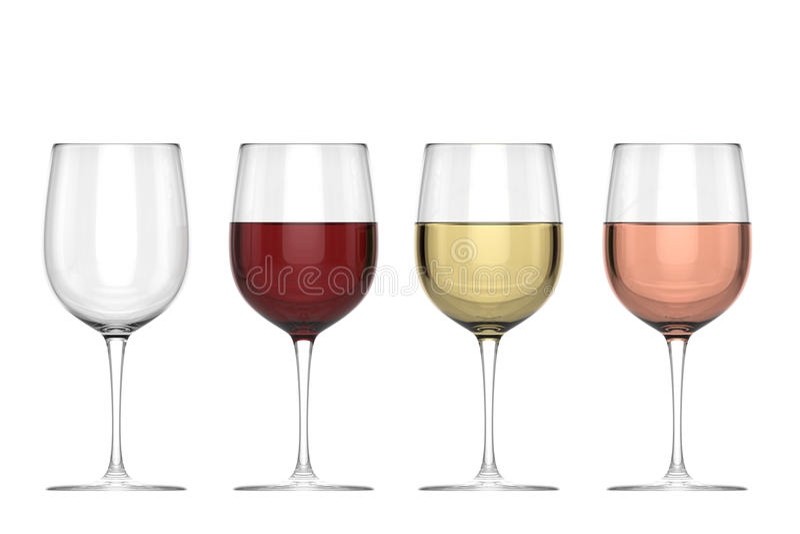 Ποτήρια του κρασιού - σύνολο ελεύθερη απεικόνιση δικαιώματος