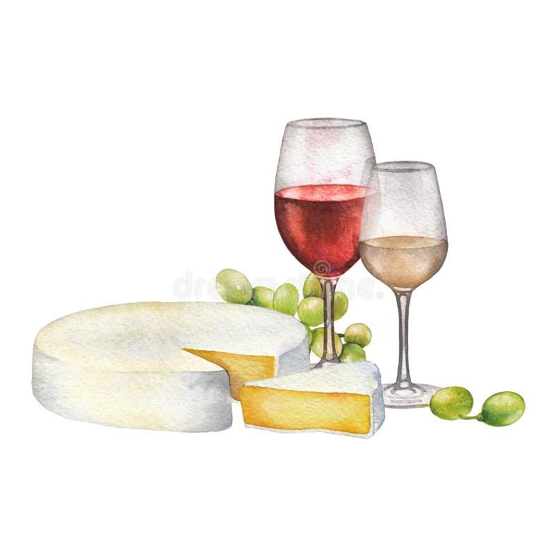 Ποτήρια Watercolor των κόκκινων και άσπρων κρασιών, του τυριού και των άσπρων σταφυλιών στοκ φωτογραφίες με δικαίωμα ελεύθερης χρήσης