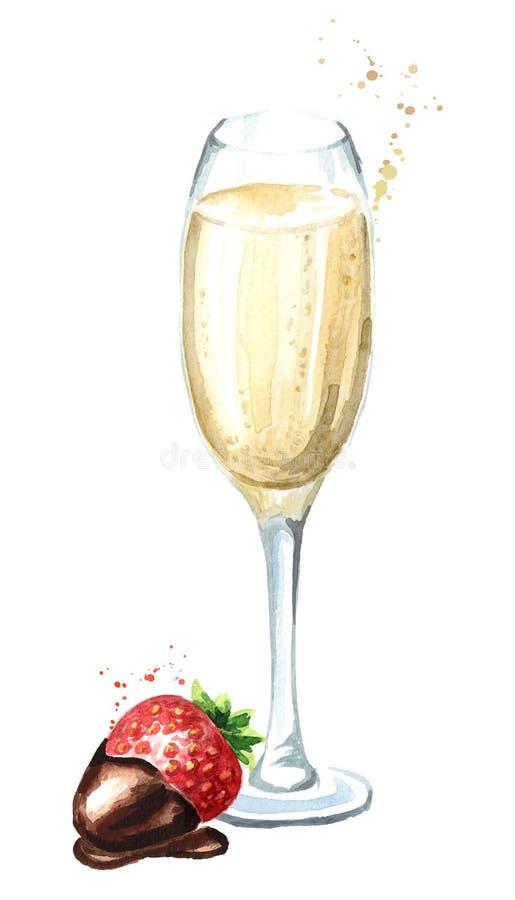 Ποτήρι της σαμπάνιας και του strawbery στη σοκολάτα Συρμένη χέρι απεικόνιση Watercolor που απομονώνεται στο άσπρο υπόβαθρο διανυσματική απεικόνιση