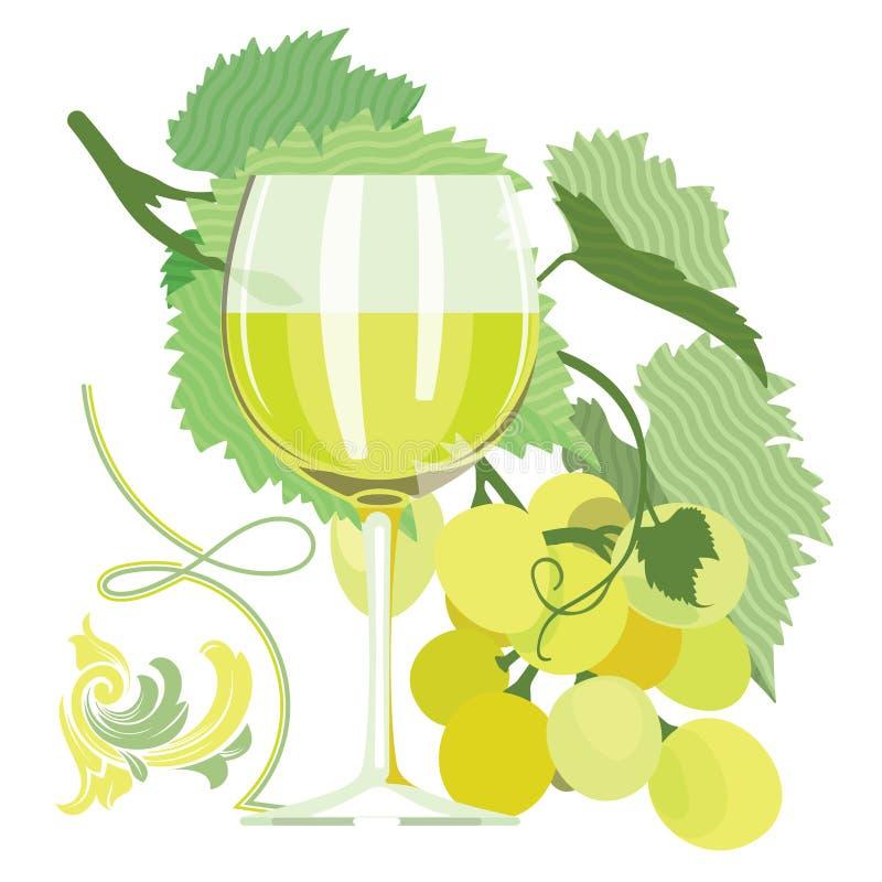 Ποτήρι του άσπρου κρασιού, σταφύλια, φύλλα σταφυλιών ελεύθερη απεικόνιση δικαιώματος