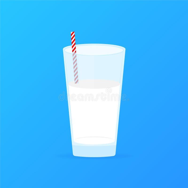 Ποτήρι του γάλακτος και του αχύρου Γαλακτοκομικό προϊόν με τις βιταμίνες r ελεύθερη απεικόνιση δικαιώματος