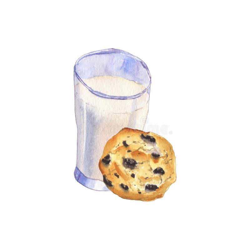 Ποτήρι του γάλακτος και του μπισκότου διανυσματική απεικόνιση