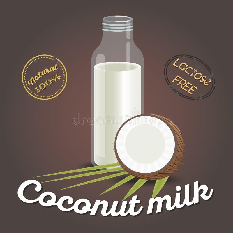 Ποτήρι του γάλακτος καρύδων με το καρύδι ελεύθερη απεικόνιση δικαιώματος