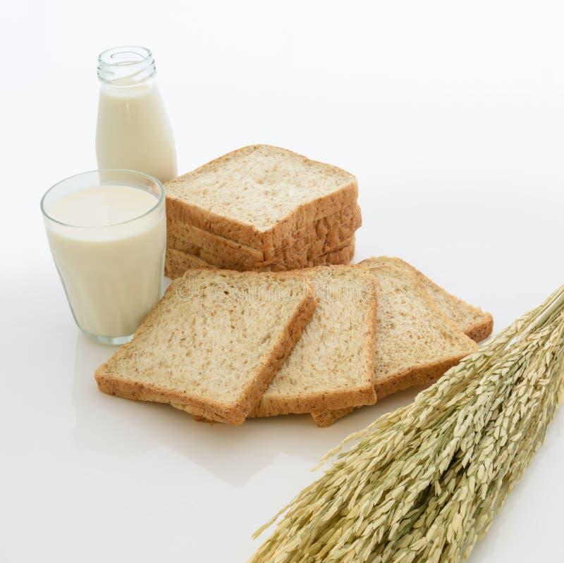 Ποτήρι του γάλακτος και ολόκληρου του ψωμιού σίτου στοκ φωτογραφία με δικαίωμα ελεύθερης χρήσης
