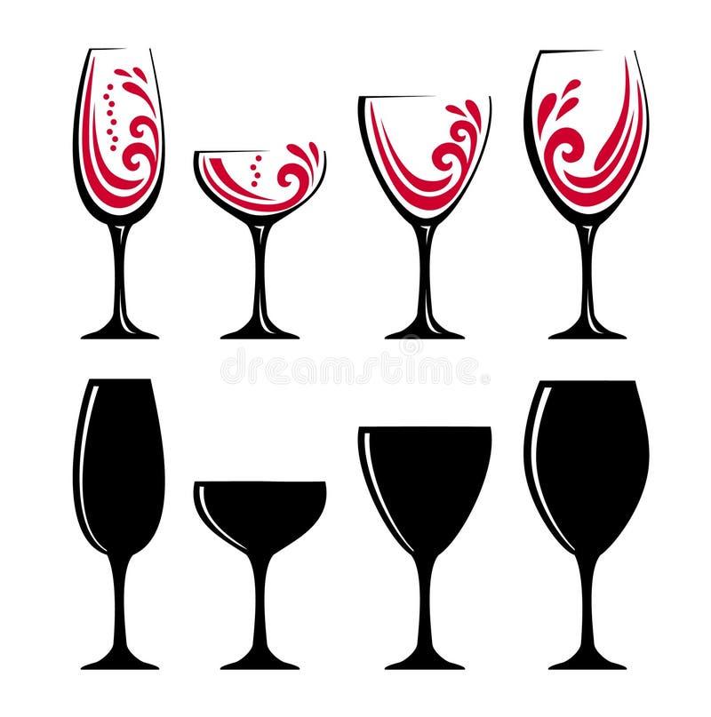 Ποτήρι του κόκκινου κρασιού ή του χυμού διανυσματική απεικόνιση