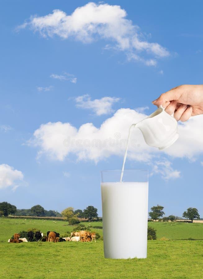Χύνοντας γάλα στοκ εικόνες