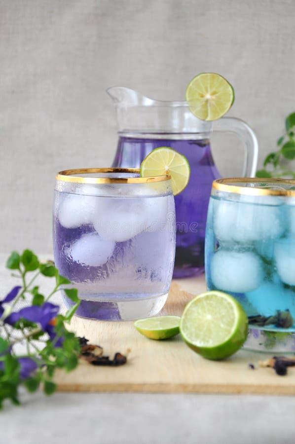 Ποτήρι των ποτών μπιζελιών πεταλούδων με το βάζο στο υπόβαθρο στοκ φωτογραφία με δικαίωμα ελεύθερης χρήσης