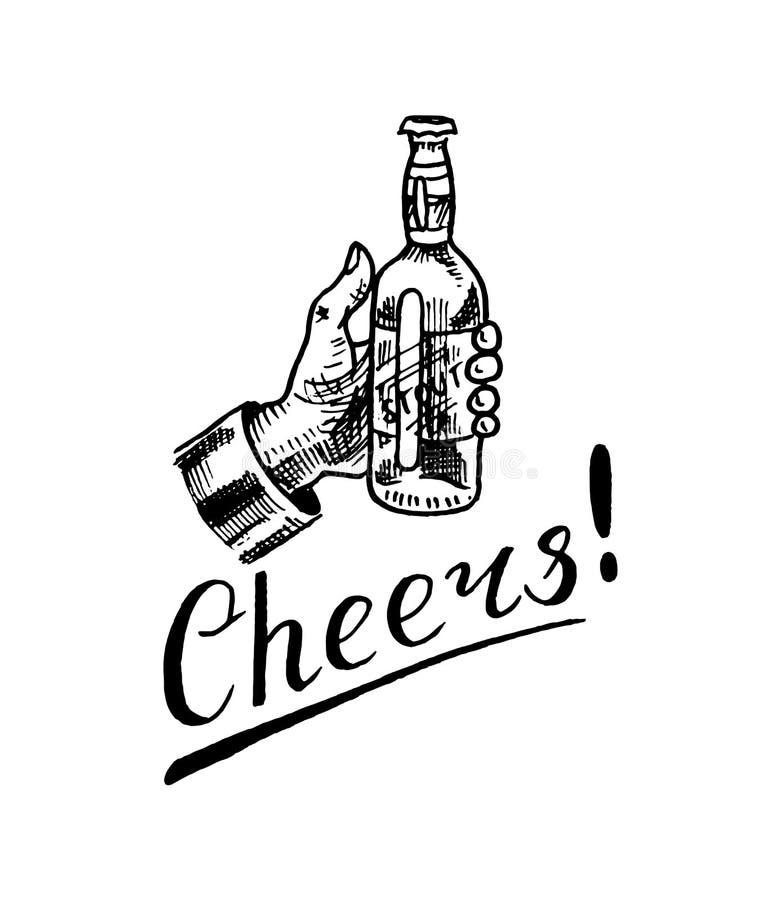 Ποτήρι φρυγανιάς ευθυμιών της μπύρας στο εκλεκτής ποιότητας ύφος Οινοπνευματώδης ετικέτα με τα καλλιγραφικά στοιχεία Κλασικό αμερ διανυσματική απεικόνιση