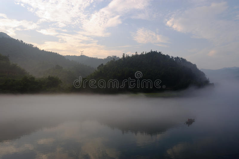 ποταμός αλιείας βαρκών στοκ φωτογραφία