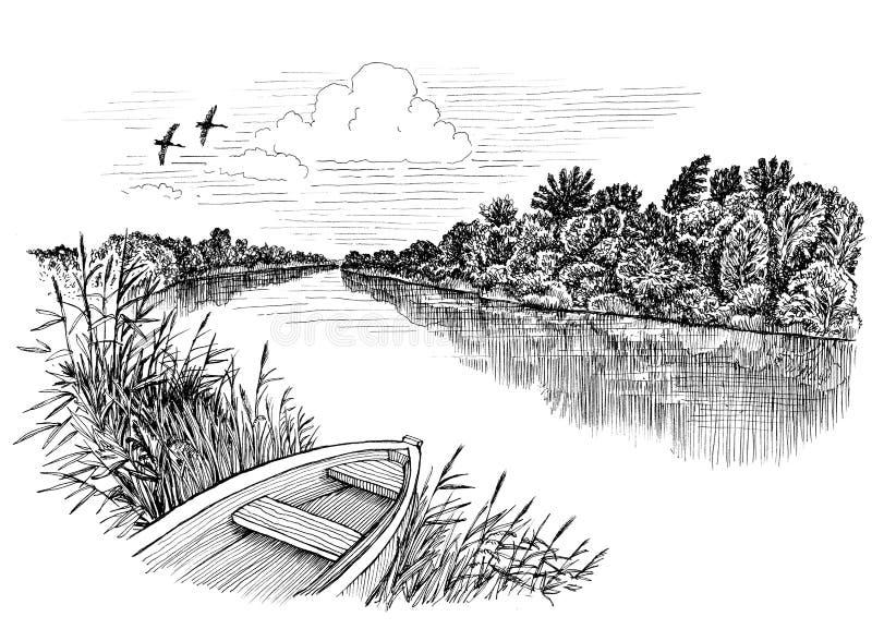 Ποταμός & βάρκα απεικόνιση αποθεμάτων
