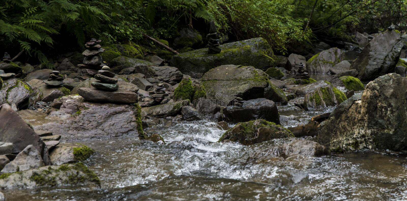 Ποταμός βουνών τοπίων με τους καταρράκτες και τα ορμητικά σημεία ποταμού στοκ εικόνες με δικαίωμα ελεύθερης χρήσης