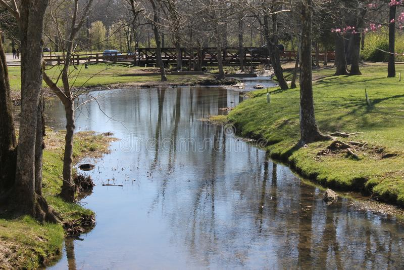 Ποταμός και όμορφη ηλιόλουστη ημέρα που απολαμβάνουν στο πάρκο στοκ εικόνα με δικαίωμα ελεύθερης χρήσης