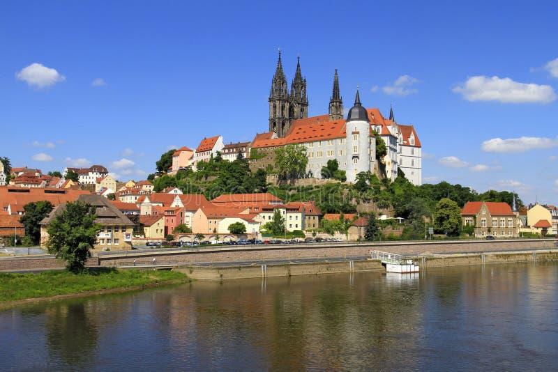 Ποταμός και Castle Elbe σε Meissen, Σαξωνία στοκ εικόνες