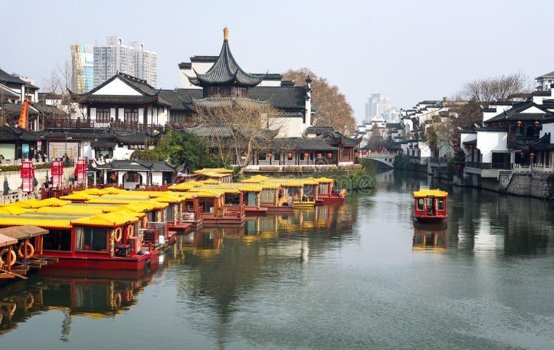 Ποταμός Ναντζίνγκ Κίνα Qinhuai στοκ εικόνες