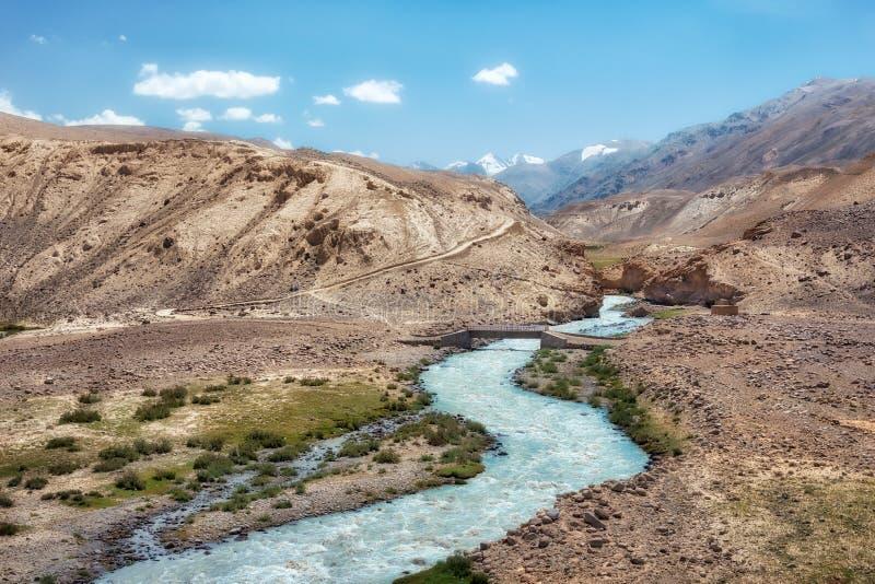 Ποταμός παγετώνων που ρέει κάτω από το διάδρομο Wakhan στο Αφγανιστάν, που λαμβάνεται από το Τατζικιστάν που λαμβάνεται τον Αύγου στοκ εικόνα