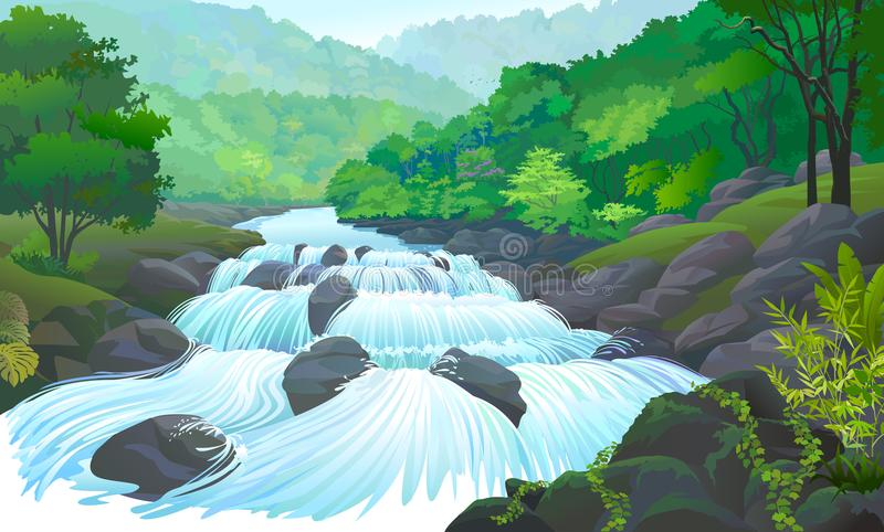 Ποταμός που ρέει πέρα από τους ακίνητους λίθους και τα αναρριχητικά φυτά που σέρνονται στους βράχους διανυσματική απεικόνιση