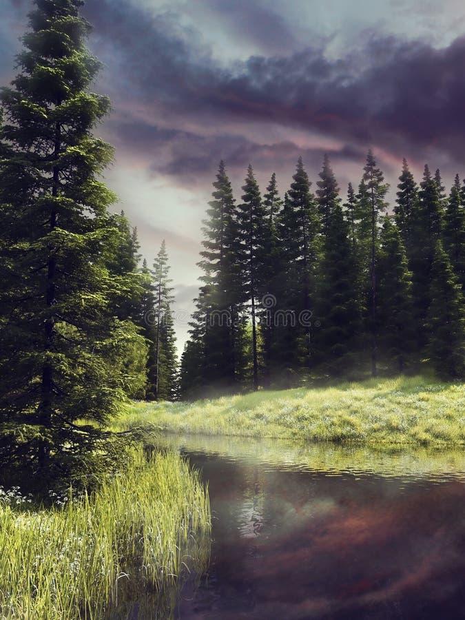 Ποταμός σε ένα ζωηρόχρωμο δάσος απεικόνιση αποθεμάτων