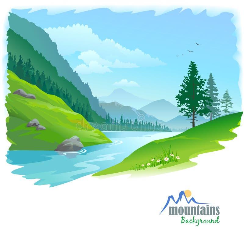 Ποταμός σε μια κοιλάδα ελεύθερη απεικόνιση δικαιώματος