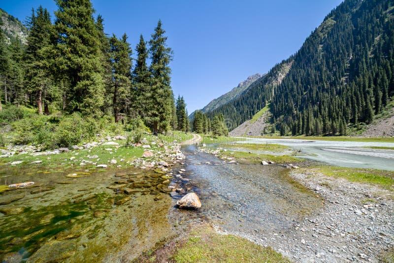 Ποταμός στο δρόμο βουνών. Τιέν Σαν, Κιργιστάν στοκ εικόνες