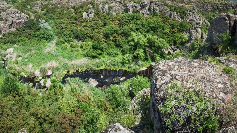 Ποταμός στο φαράγγι Aktovsky, Ουκρανία Μεγάλοι βράχοι στο μικρό ποταμό και στοκ εικόνες