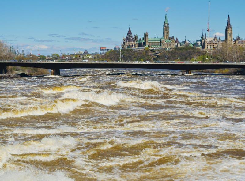 Ποταμός της Οττάβας που ξεχύνεται σαν θάλασσα προκαλώντας την πλημμύρα στοκ εικόνα