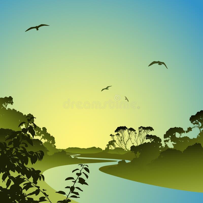 ποταμός τοπίων διανυσματική απεικόνιση