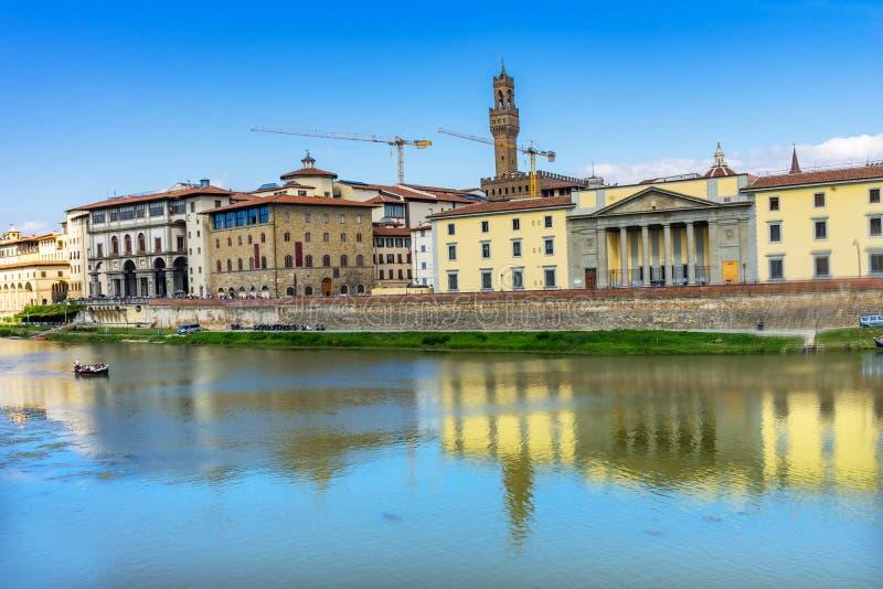 Ποταμός Φλωρεντία Τοσκάνη Ιταλία Vecchio Arno Palazzo στοκ εικόνα με δικαίωμα ελεύθερης χρήσης