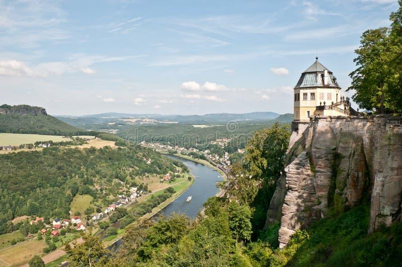ποταμός φρουρίων Elbe koenigstein στοκ φωτογραφίες