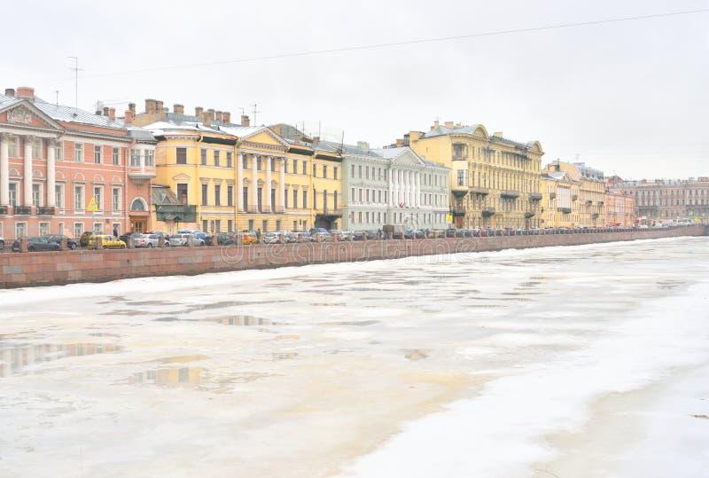 Ποταμός Fontanka στο χειμώνα στοκ φωτογραφία