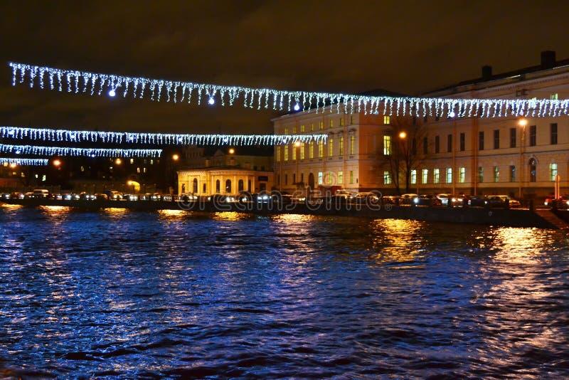 Ποταμός Fontanka τη νύχτα στοκ εικόνα με δικαίωμα ελεύθερης χρήσης