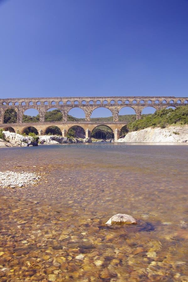 Ποταμός Gard και το Pont-du-Gard, Νιμ, Γαλλία στοκ φωτογραφία με δικαίωμα ελεύθερης χρήσης