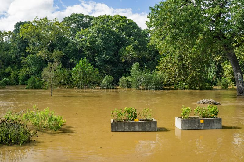 Ποταμός Greenway Roanoke στο πάρκο Wasena, Roanoke, Βιρτζίνια, ΗΠΑ στοκ φωτογραφία