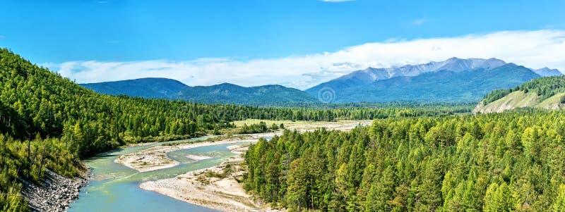 Ποταμός Irkut πανοράματος στην κοιλάδα Tunka στοκ εικόνες με δικαίωμα ελεύθερης χρήσης