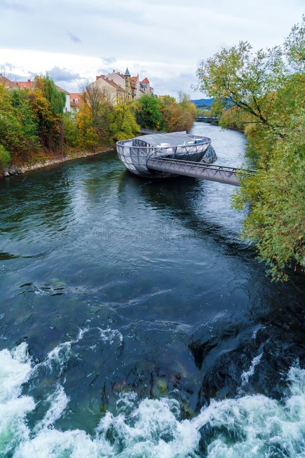 Ποταμός MUR και Murinsel, Γκραζ, Αυστρία στοκ φωτογραφία με δικαίωμα ελεύθερης χρήσης