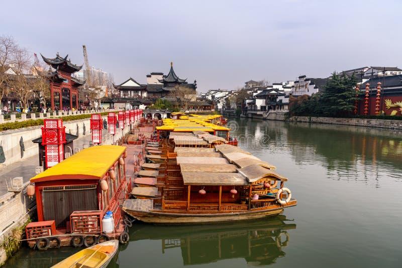 Ποταμός Qinhuai Ναντζίνγκ Κίνα στοκ εικόνες